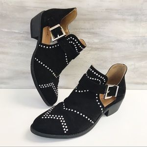 QUPID Black SOCHI-123 Ankle Boot-Studded-Cut Out-7